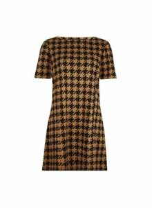 Womens Camel Dogtooth Print Tunic Top- White, White