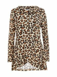 Womens Quiz Brown Leopard Print Cowl Neck Top, Brown