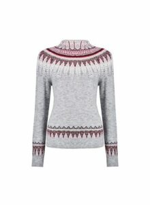 Womens Grey High Neck Fairisle Jumper- Grey, Grey