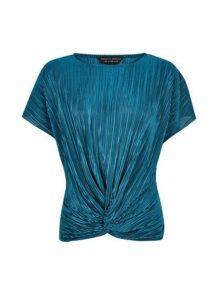 Womens Teal Plisse Wrap Top- Blue, Blue