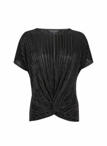 Womens Black Plisse Wrap Top- Black, Black