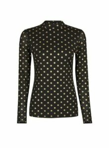 Womens Black Foil Spot Mesh Long Sleeve Top, Black