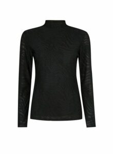 Womens Black Long Sleeve Textured High Neck Top, Black