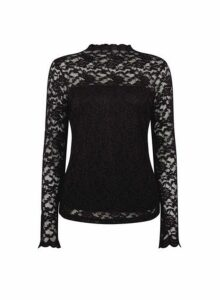 Womens Black Lace Scallop High Neck Top- Black, Black