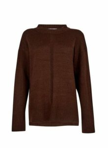 Womens **Tall Chocolate Brown Chunky Knit Jumper, Brown