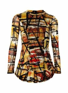 Womens *Izabel London Multi Colour Abstract Print Dip Back Top- Orange, Orange