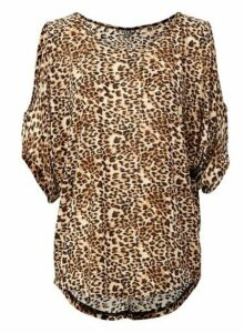 Womens *Izabel London Brown Animal Print Top, Brown