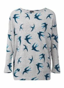 Womens *Izabel London Grey Swallow Print Jumper, Grey
