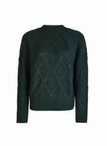 Womens Green High Neck Cable Jumper- Green, Green