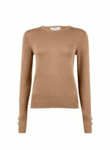 Womens Petite Camel Button Detail Jumper- Beige, Beige