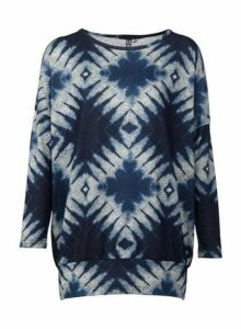 Womens *Izabel London Navy Abstract Print Tie Dye Knitted Jumper- Navy, Navy