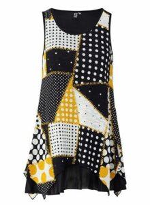 Womens *Izabel London Yellow Geometric Print Vest, Yellow