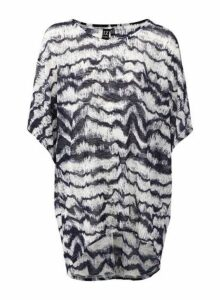 Womens *Izabel London Navy Tie Dye Oversized T-Shirt, Navy