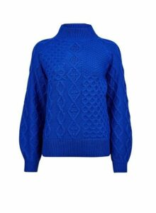 Womens Cobalt High Neck Cable Jumper- Blue, Blue