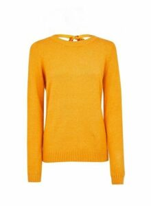 Womens **Vila Yellow Tie Back Jumper, Yellow
