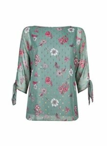 Womens **Billie & Blossom Tall Sage Floral Print Tie Sleeve Blouse- Green, Green