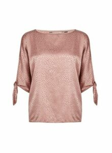 Womens **Billie & Blossom Petite Nude Jacquard Tie Sleeve Blouse- Pink, Pink