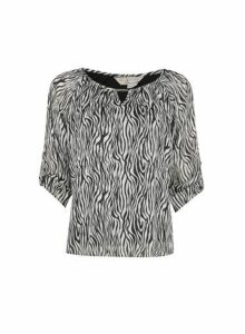 Womens **Billie & Blossom Petite Multi Colour Zebra Print Blouse- Black, Black