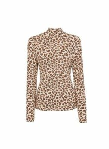 Womens **Vila Brown Leopard Print Mesh Top- Brown, Brown