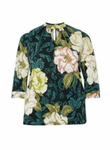 Womens **Dp Curve Green Floral Pleat Top, Green