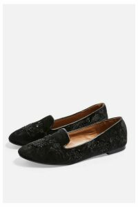 Womens Syrup Embroidered Slippers - Black, Black
