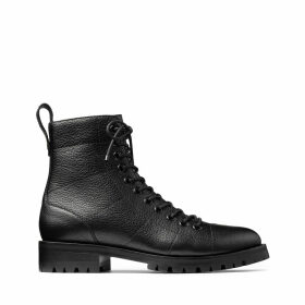 CRUZ FLAT Black Grainy Leather Combat Boots