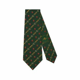 Double G, pineapples and strawberries silk tie