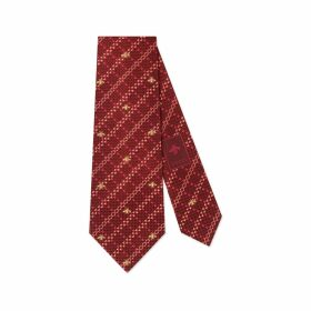 Bee check silk tie
