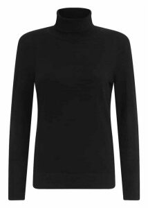 Lara Merino Wool Rib Roll Neck Black