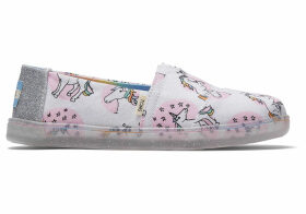 TOMS Pastel Shimmer Unicorns Canvas Youth Classics Slip-On Shoes - Size UK2