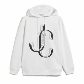 JC-HOODIE Sweat à capuche oversize en coton blanc avec logo JC