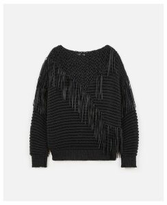 Stella McCartney Black Fringed Jumper, Women's, Size 14
