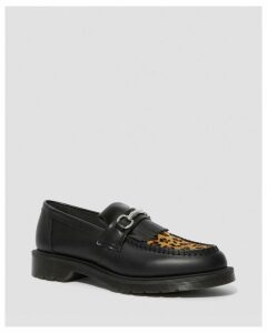 ADRIAN SNAFFLE LEOPARD PRINT LEATHER LOAFERS