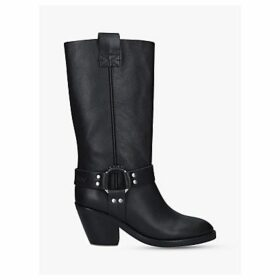 See By Chloé Mid Buckle Block Heel Leather Knee Boots, Black