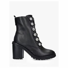 Kurt Geiger London Rina Block Heel Leather Ankle Boots, Black