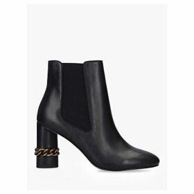 Kurt Geiger London Raquel High Block Heel Leather Ankle Boots, Black