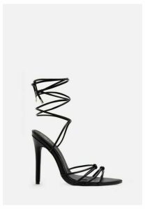 Black Pointed Toe Lace Up Barely There Heels, Black