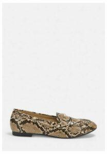 Beige Snake Print Mock Croc Gold Detail Loafers, Nude