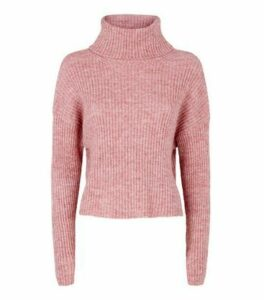 Mid Pink Ribbed Knit Roll Neck Jumper New Look