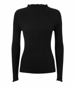 Black Ribbed Frill Trim Long Sleeve Top New Look