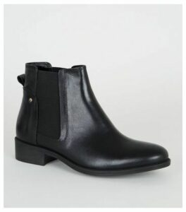 Black Leather Flat Chelsea Boots New Look