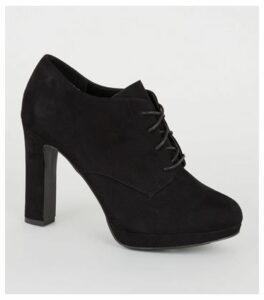 Black Suedette Lace Up Platform Shoe Boots New Look Vegan