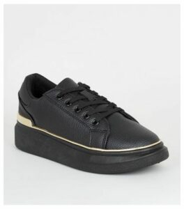 Black Leather-Look Metal Trim Flatform Trainers New Look