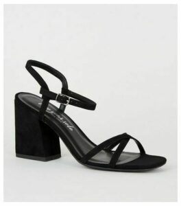 Black Suedette Barely There Flared Heels New Look Vegan