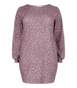 Just Curvy Purple Leopard Print Bodycon Dress New Look