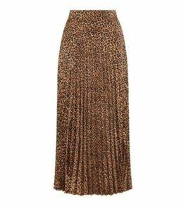 Brown Leopard Print Pleated Midi Skirt New Look