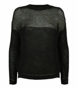 Carpe Diem Black Fishnet Crew Neck Jumper New Look