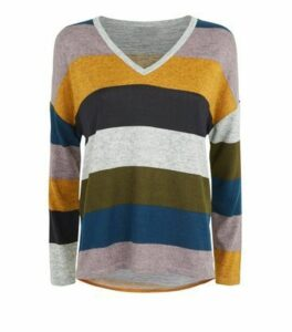 JDY Light Grey Stripe Long Sleeve Top New Look