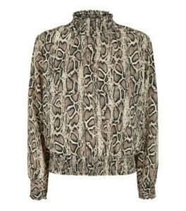 Cameo Rose Brown Snake Print High Neck Blouse New Look