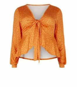 Just Curvy Orange Leopard Print Tie Top New Look